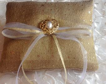 Burlap Ring Bearer pillow, Burlap and Gold Pillow.  ------