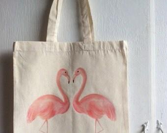 Pink flamingo canvas tote bag