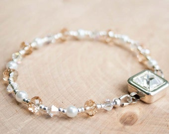 Bridal Bracelet | Bridesmaid Bracelet | Pearl and Crystal Bracelet