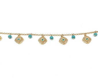 Anklet Turquoise and Gold Flowers Beaded