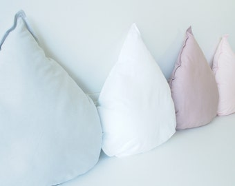 Tear Drop Cushion Pillows, Kids Pillows, Decorative Cushions, Kids Room Decor, Nursery Decor, Baby Bedding, Mauve, Pink, Gray
