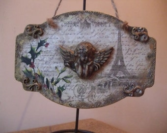 wooden plaque with angel,christmas tree hanging decoration,chic cottage,wall decoration
