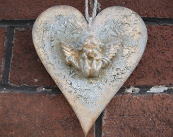 wooden hanging heart,wall plaque,vintage angel decor,home decor