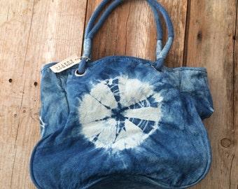 Shibori Handbag ~ Indigo Shoulder bag ~ Blue Canvas bag