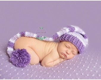 Elf Hat, Long Tailed Baby Hats, Baby Girl Sleepy Cap, Photo Prop Elf Hat, Pom Pom Hat, Long Tailed Hat, Stocking Cap, Baby Girl MADE 2 ORDER