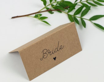 Kraft Paper Wedding Table Place Cards - Country Charm