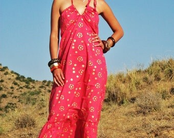 Pink Long Maxi Cotton Summer Dress