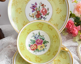 Vintage tea cup and saucer porcelain tea set Schaubach Kunst German porcelain tea cup trio set from Germany