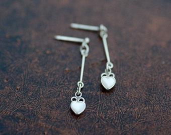 Vintage Sterling Silver White Shell Heart Dangle Earrings