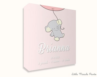 Brianna, Elephant, Canvas Print, Nursery Décor, Custom Baby Name, Congratulations, Kids Room Art, Nursery Print, Baby Girl [N5G515C]