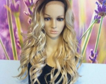 Ombre Dark Roots To light  Blonde curley Lace Front Wig 22'' Heat Resistant Wig
