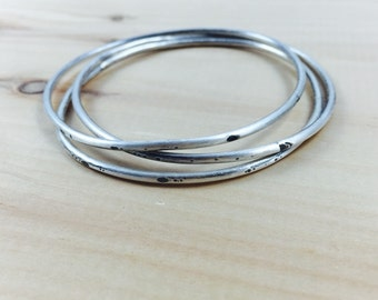 Set of 3 Thick Bracelets, Bangles, Thick Full Textured Bangle, Sterling Silver, Bracelet, Stacking, Layering