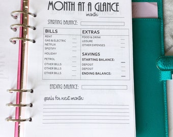 Monthly Budget Planner for A5 Filofax Planner, 30 pages