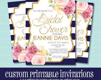 Custom BRIDAL SHOWER Invitation, Navy Stripe Shower Invitation, PRINTABLE, Bridal Shower, Invitation, Wedding, Gold, Glitter, Elegant Invite