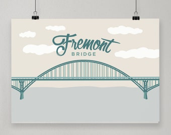 Fremont Bridge / Illustrated Print / Portland, Oregon Design