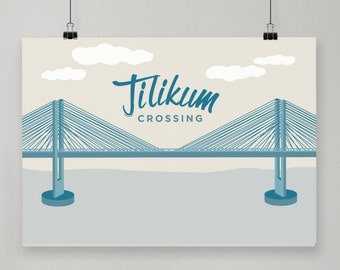 Tilikum Crossing / Illustrated Print / Portland, Oregon Design