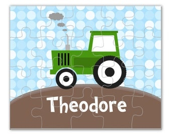Tractor Personalized Puzzle - Green Tractor Puzzle, Blue Dots Farm Personalized Puzzle, You Pick Tractor - Kids Personalized Gift under 20