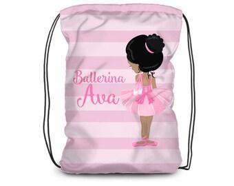 Personalized Ballerina Drawstring Backpack - Ballet Bag, Pastel Pink Stripes, Ballet Dancer Backpack, You Pick Girl - Kids Personalized Gift