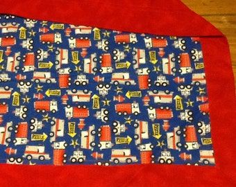 Red, blue ambulance, fire truck, police car, rescue vehicles, large double layered flannel blanket baby shower, toddler boy, car seat cover