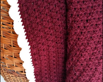 Baby blanket Bordeaux blanket Stroller blanket Crochet blanket Soft baby blanket Handmade blanket Newborn blanket Car seat blanket
