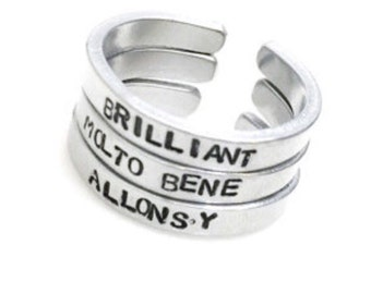 Doctor Who Tenth Doctor Handmade Stamped Aluminum Stackable Rings | set of three | whovian | allonsy | brilliant | molto bene
