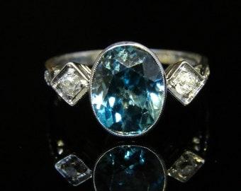 Antique Edwardian Blue Zircon Diamond Trilogy Ring – 4ct Zircon & Diamond