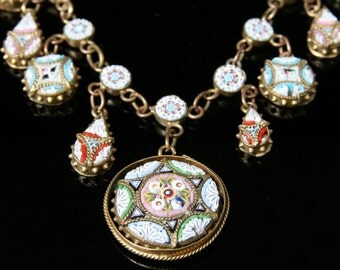 Antique Victorian Mosaic Necklace - Beautiful Mosaics Circa 1860