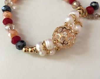 Burgundy and black ball beaded bracelet