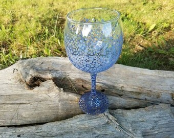Blue ombre polka dot wine glass, blue ombre wine glass, ombre wine glass, blue wineglass