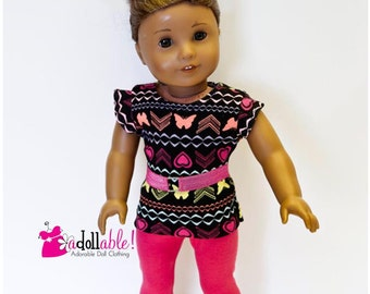 American made Girl Doll Clothes, 18 inch Doll Clothing, Butterflies/Hearts with Hot Pink Capris made to fit like American girl doll clothes