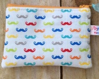 Coin purse /coin pouch/ small zipper pouch/ colorful mustache
