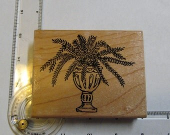 Potted Fern Rubber Stamp - Wood Mounted