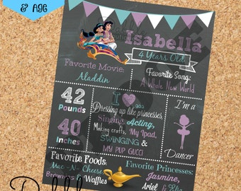 Aladdin Birthday Chalkboard / 1st birthday chalkboard / 2nd birthday chalkboard/ Jasmine birthday board