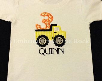 Dump truck 3rd birthday shirt, Personalized boys 3rd birthday shirt, construction birthday shirt, Embroidered boys 3rd birthday shirt.