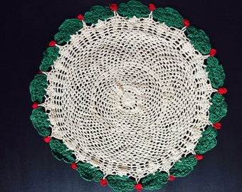 Festive Vintage Cream Color Crocheted Doily with Green Holly and Red Berries Crocheted Around Edge