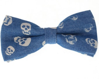 Denim Bowtie.Skull Bowtie.Dark Blue Bowtie.Gift Ideas.