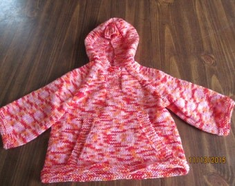 red pink orange hooded sweater with pocket