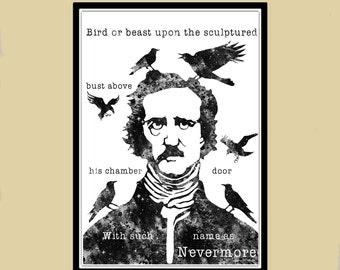 Edgar Allan Poe The Raven Quote print, room decor,  watercolor painting, watercolor print  (1682b)