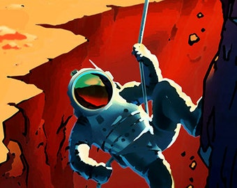 Explorers Wanted on the Journey to Mars .  NASA Mars explorers wanted series Giclee Reproduction Poster Print.