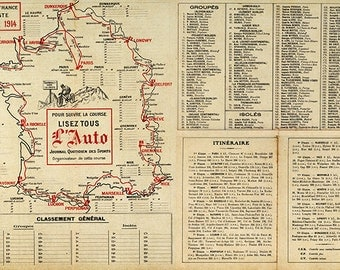 Tour de France Cycliste, 12e Annee 1914 with lists of teams, individuals, and route stage details. Vintage Reproduction Poster Print