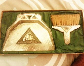 Nautical item, Antique crumbs cleaner, Antique broom, table crumbs sweeper, collectible item.
