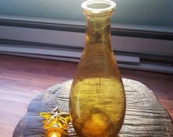 Vintage bottle, hand blown glass bottle, vintage hand blown bottle. yellow bottle, vintage yellow bottle, hand blown yellow bottle.