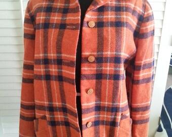 Wool jacket, wool orange jacket, vintage jacket, vintage wool jacket, 1970's jacket 1970's wool jacket