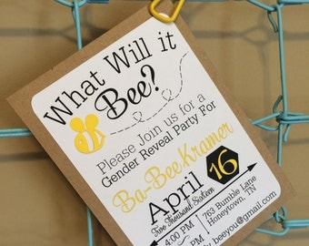 What Will It Bee Invitations Set of 10, Bee Gender Reveal Invites, He or She Invintations, Custom Gender Reveal Invites