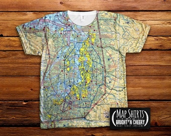 Seattle-Tacoma Aviation Sectional Map Tshirt, All Over Print tee, pacific northwest flying, pilot christmas gift airplane shirt aviator gift