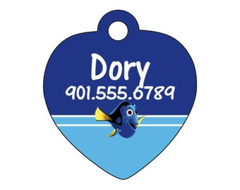 Disney Finding Nemo Dory Dog Tag Pet ID Personalized w/ Your Pet's Name & Number