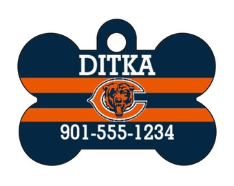 Chicago Bears Pet Id Dog Tag Personalized w/ Your Pet's Name and Number