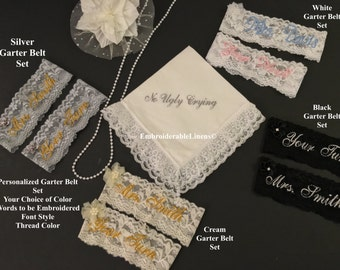 Custom Garter Belt Set, Choice of Color, Embroidered with your name/words in your choice of font/thread color FREE GIFT BOX