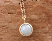 Opal necklace, 14K gold chain, genuine real opal, solid gold 14K, white gold opal 14K, 14K rose gold opal, opal necklace for women, AN179