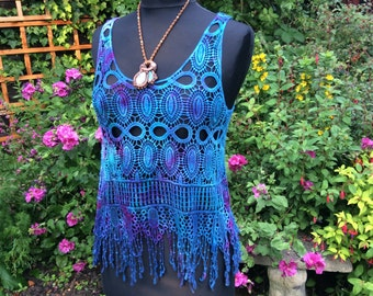 Lace/ Hippy/Festival/Crochet/Tie Dye/Fairy/Fringed/Hand dyed,/lace/Crochet top/ teal/ turquoise/purple/ cerise
